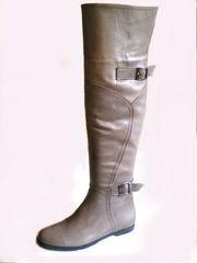 Классические кожаные ботфорты женские на низком каблуке