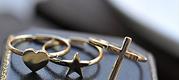 Набор из трех колец: сердечко. звездочка,  крестик