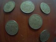 Шесть монет по десять копеек 1992г.