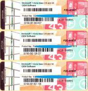 Windows 7 Home Basic OEM 64 RUS F2C-01531 лицензионная наклейка